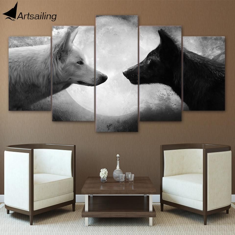 Canvas paintings printed pieces black and white wolves wall art