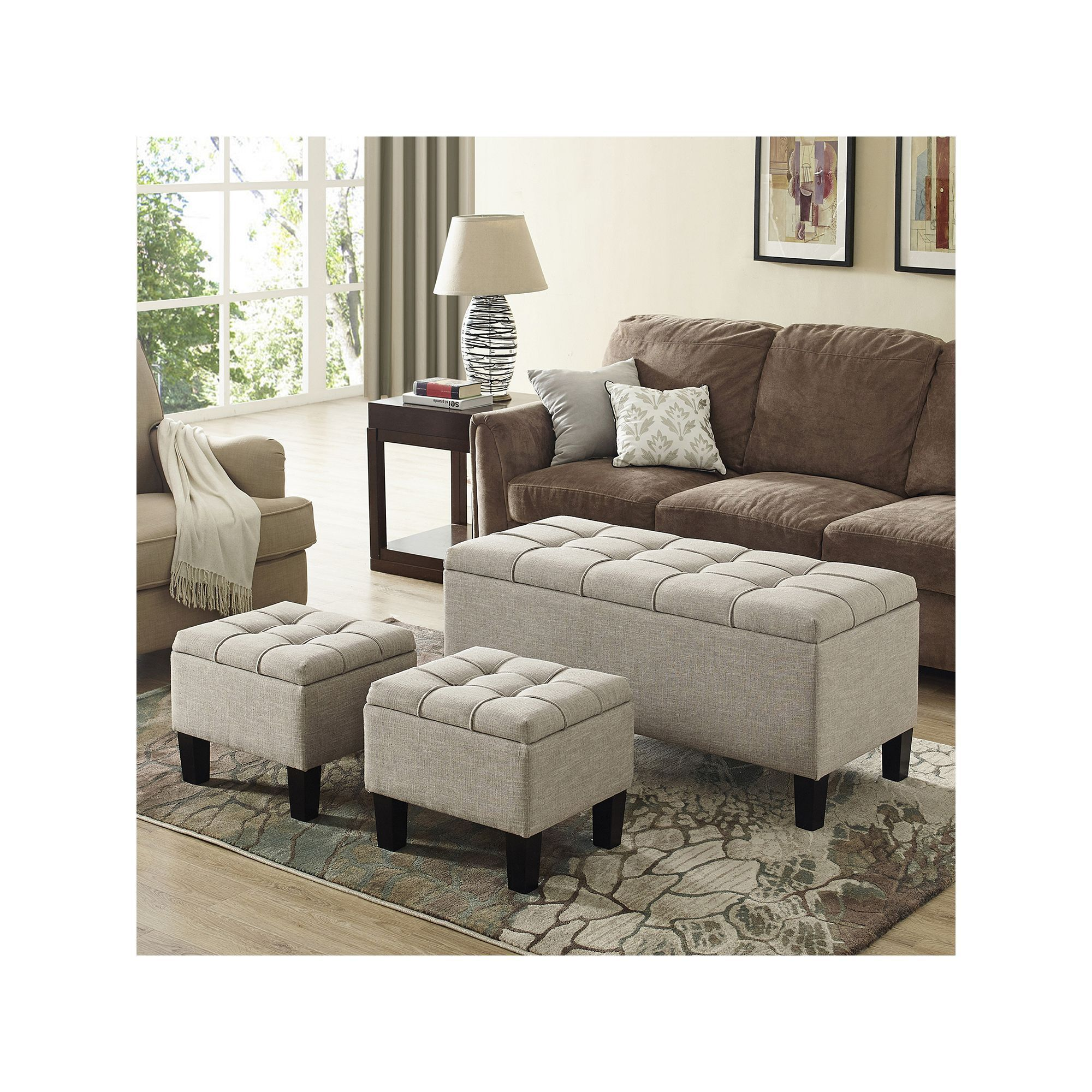 Fabulous Simply Home Dover Storage Ottoman Bench 3 Piece Set Squirreltailoven Fun Painted Chair Ideas Images Squirreltailovenorg