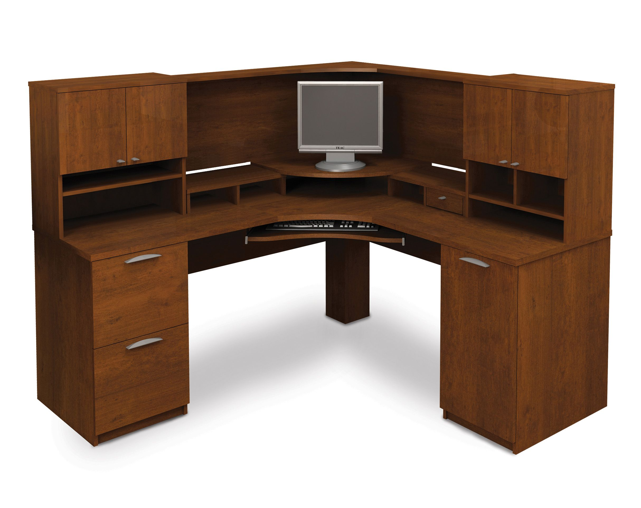 Computer Desk Blueprints 25 Bestar Elite Tuscany Brown Corner Computer Desk  With Hutch On Home Furniture Part 74