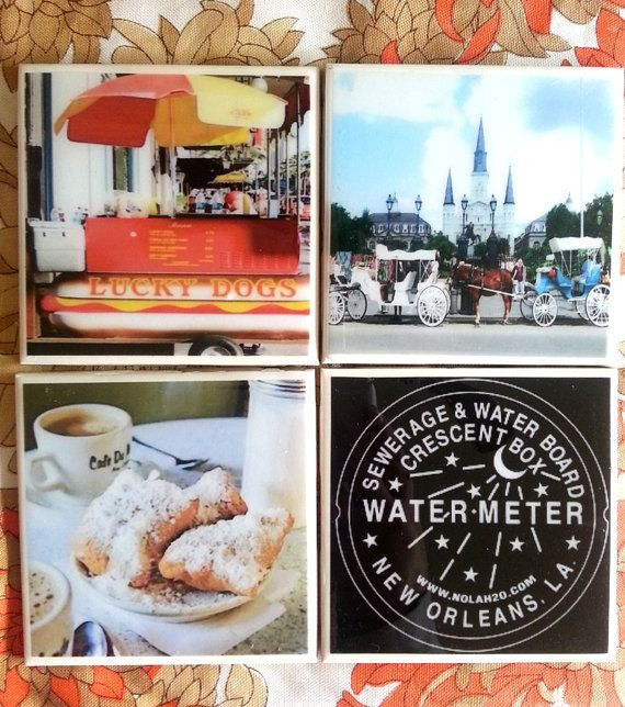 New Orleans Home Decor Stores: New Orleans Coaster Set, Set Of 4,NOLA, French Quarter