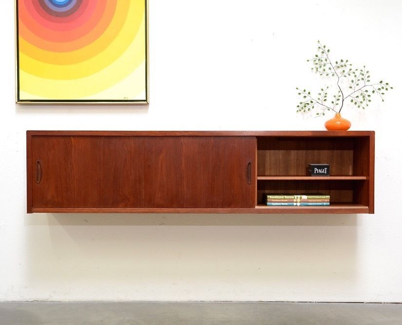 Danish Floating Credenza : S danish modern teak floating credenza sideboard mid century