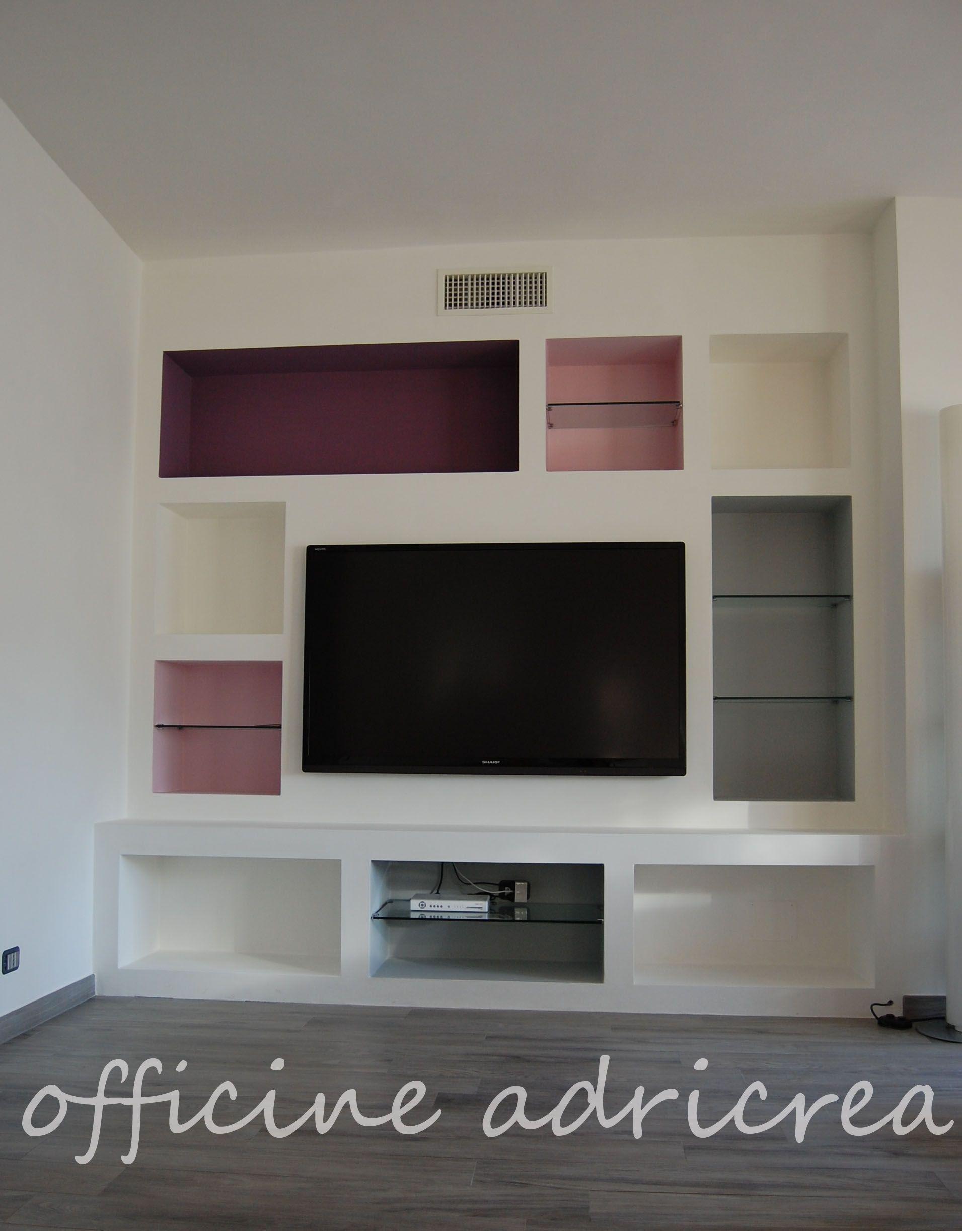 parete attrezzata in cartongesso idee per la casa