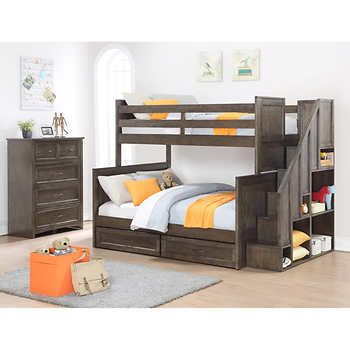 Ryan 2 Piece Twin Over Full Staircase Bunk Bed Set Jordan White Home Items
