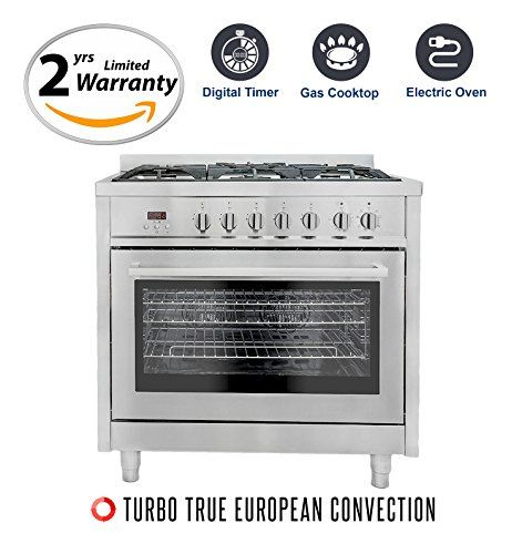 Cosmo F965 36inches Dual Fuel Gas Range With 38 Cu Ft Oven 5 Burners Convection Fan Cast Iron Grates And B Dual Fuel Ranges Convection Electric Convection Oven