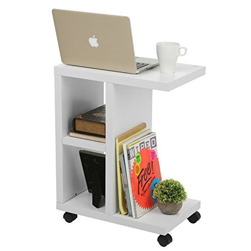 Modern Wood Rolling End Table, Rectangular Storage Organizer Shelving Unit,  White