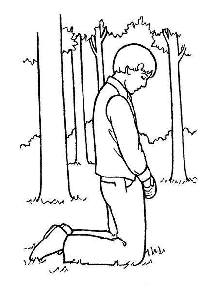 An illustration of joseph smith praying in the sacred for First vision coloring page