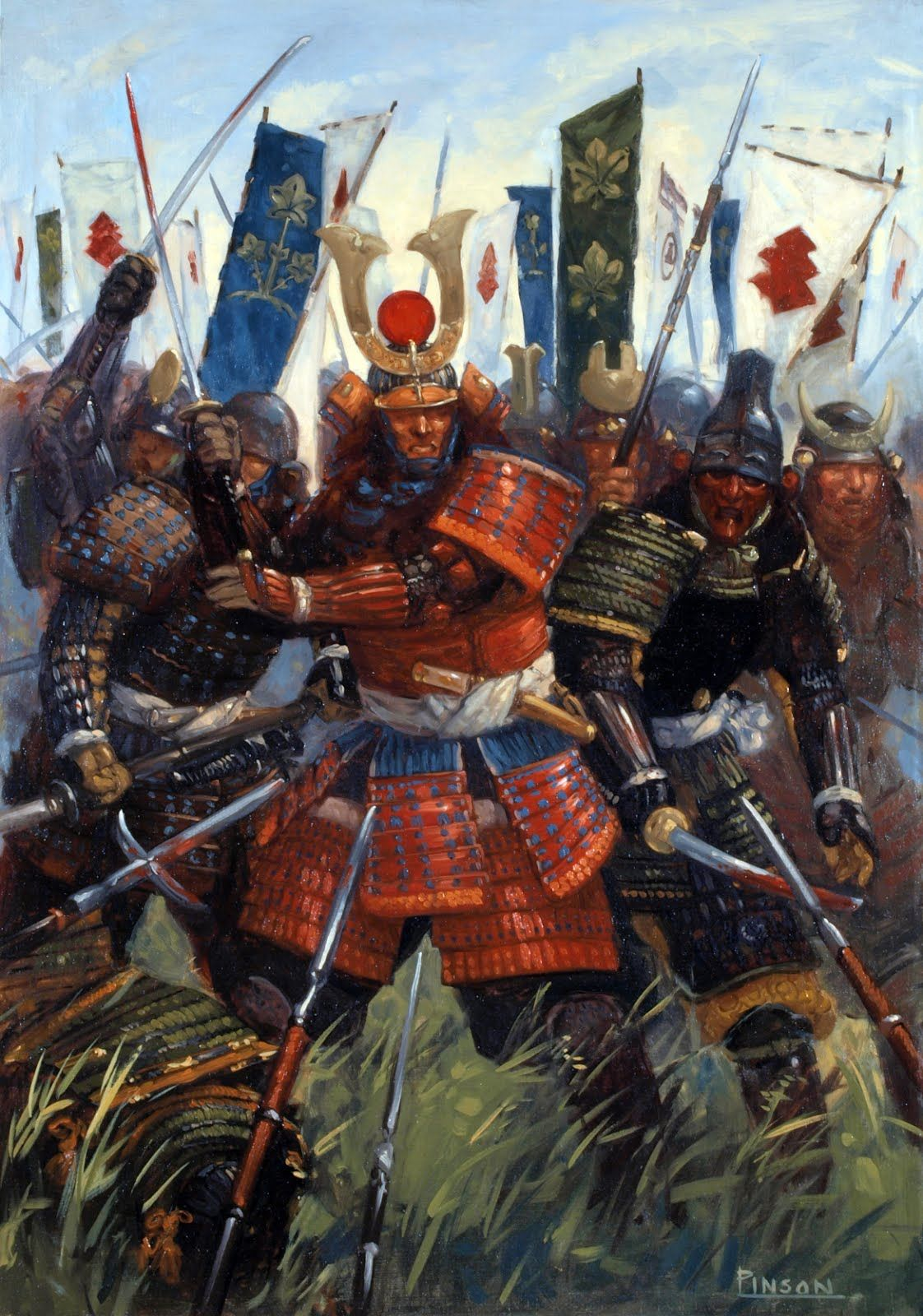 Samurai warrriors at the Battle of Sezawa | Samurai art ...