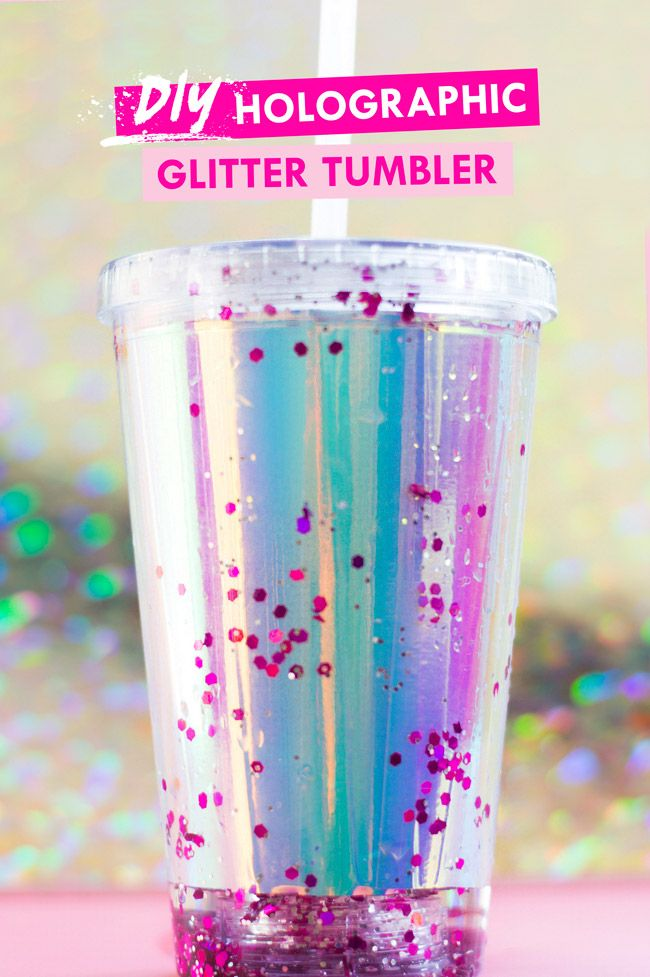 Diy Reusable Holographic Glitter Tumbler Holographic