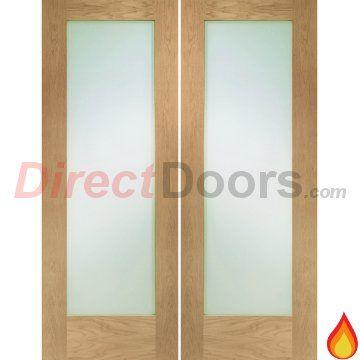 Pattern 10 Style Oak Fire Door Pair Clear Glass 12 Hour Fire