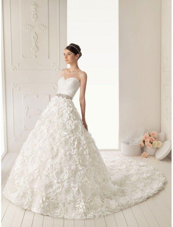 Taffeta Sweetheart Neckline ALine Wedding Dress With Lavish - Rosette Wedding Dress