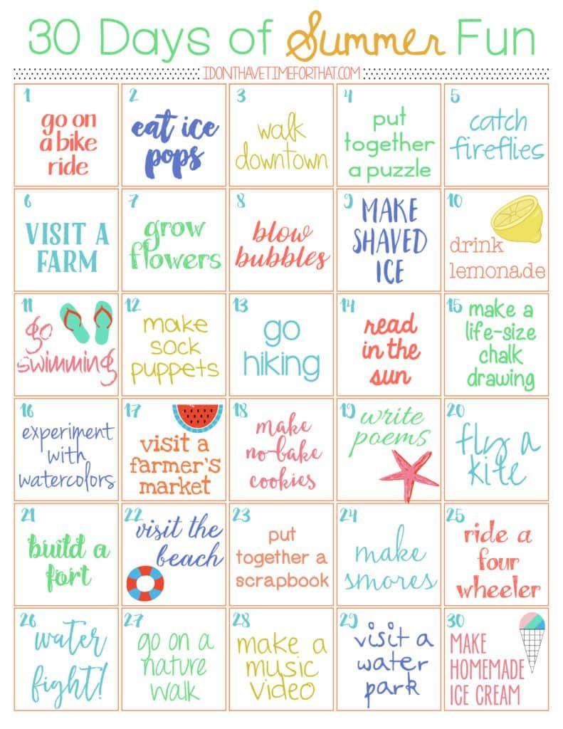 30 Day of Summer Fun Challenge | Summer holiday activities, Summer ...