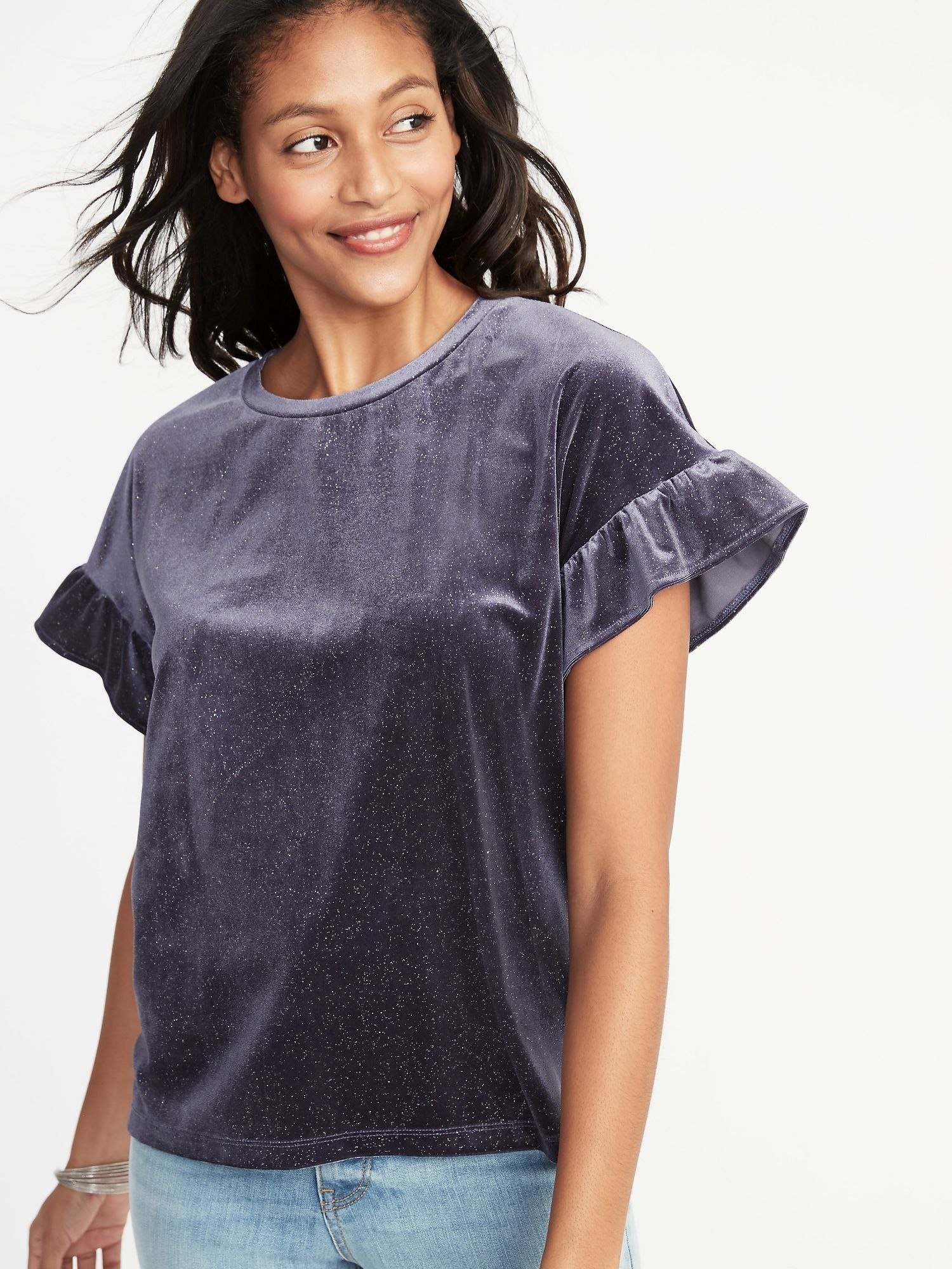042a3a6ca43 Glitter-Velvet Ruffle-Sleeve Top for Women