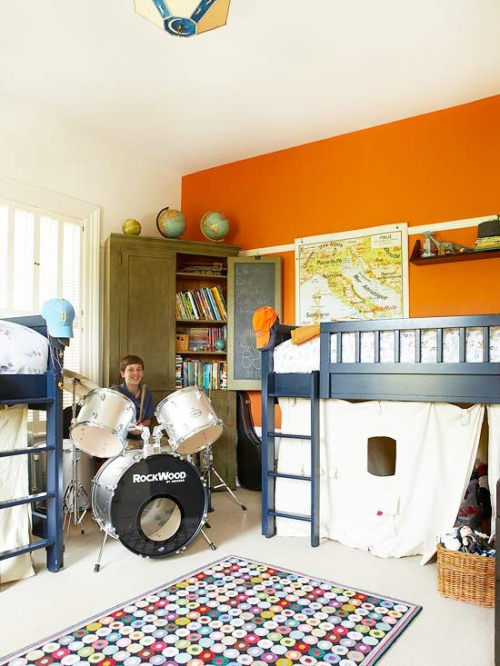 Bedrooms Just for Boys | Orange accent walls, Large area ...