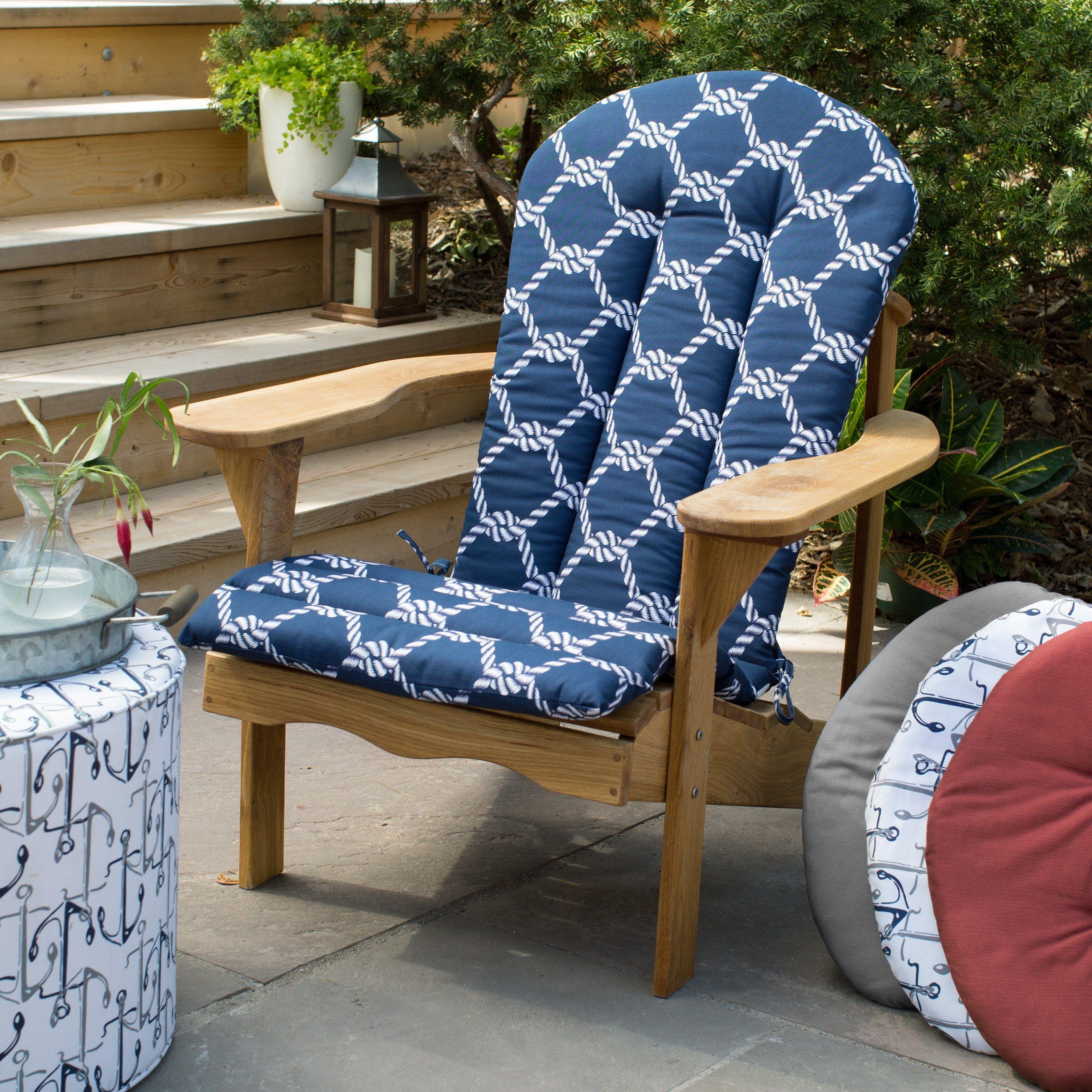 Coral Coast Nautical Adirondack Chair Cushion 49 x 20 in