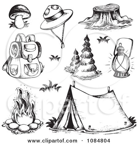 Photo of camp fire stained glass patterns | Clipart Sketched Drawings Of Camping Gear – R…