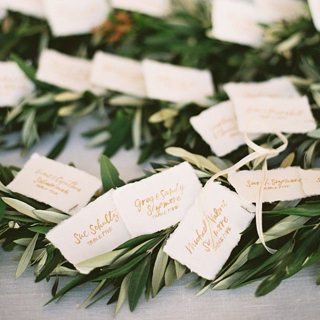 """""""We love texture and nature combined in a display that engages the senses. Escort cards that lead guests to their seats deserve some attention. We combined…"""""""