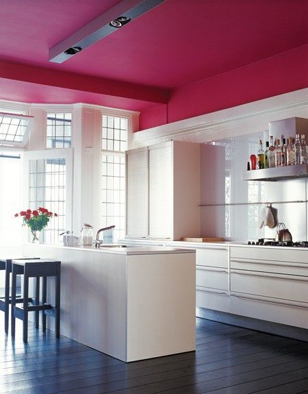 Hot Pink Painted Ceiling in Modern Kitchen