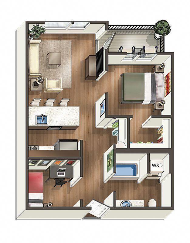 1 X 1 Den Floor Plan 3 Departamentopequeno Condo Floor Plans Sims House Plans One Bedroom House Plans