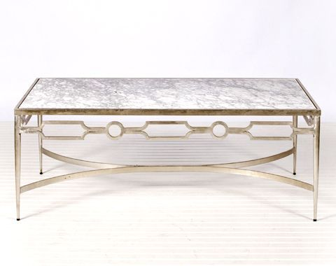 Charming Grace Iron And Marble Coffee Table   Silver Leaf   Clayton Gray Home