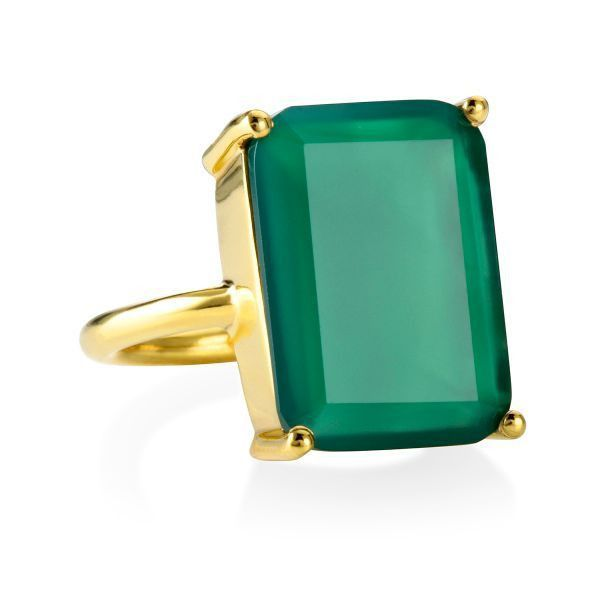 emerald cut cocktail ring green onyx