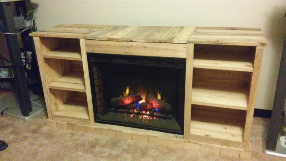 Pallet Media Cabinet Inside Fireplace Easy Pallet Ideas Living Room Tv Stand Electric Fireplace Tv Stand Build A Tv Stand Tv stand with fireplace insert