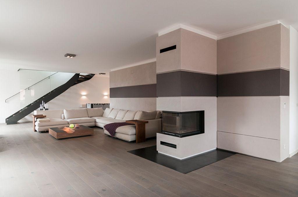 offene wohnzimmer mit stylischer treppe im raum moderne h user pinterest. Black Bedroom Furniture Sets. Home Design Ideas