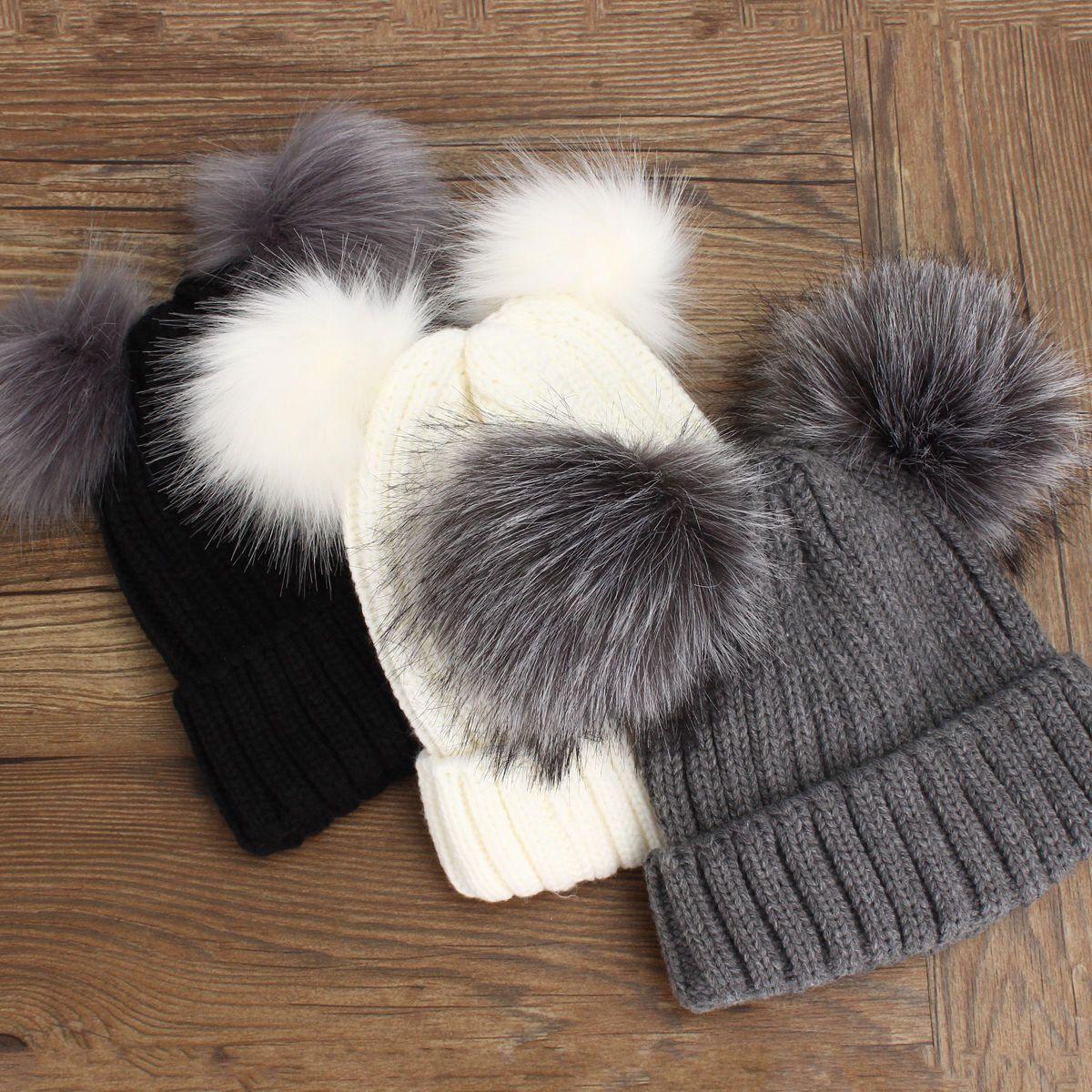 3.45 - Winter Outdoor Women s Warm Chunky Knit With Double Fur Pom Pom  Cute Beanie Hats  ebay  Fashion 24b16032cd5