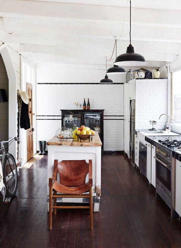 Cool Kitchen with Chopping Block, Tiled Walls and Pendant Lights | www.thefoxandshe.com