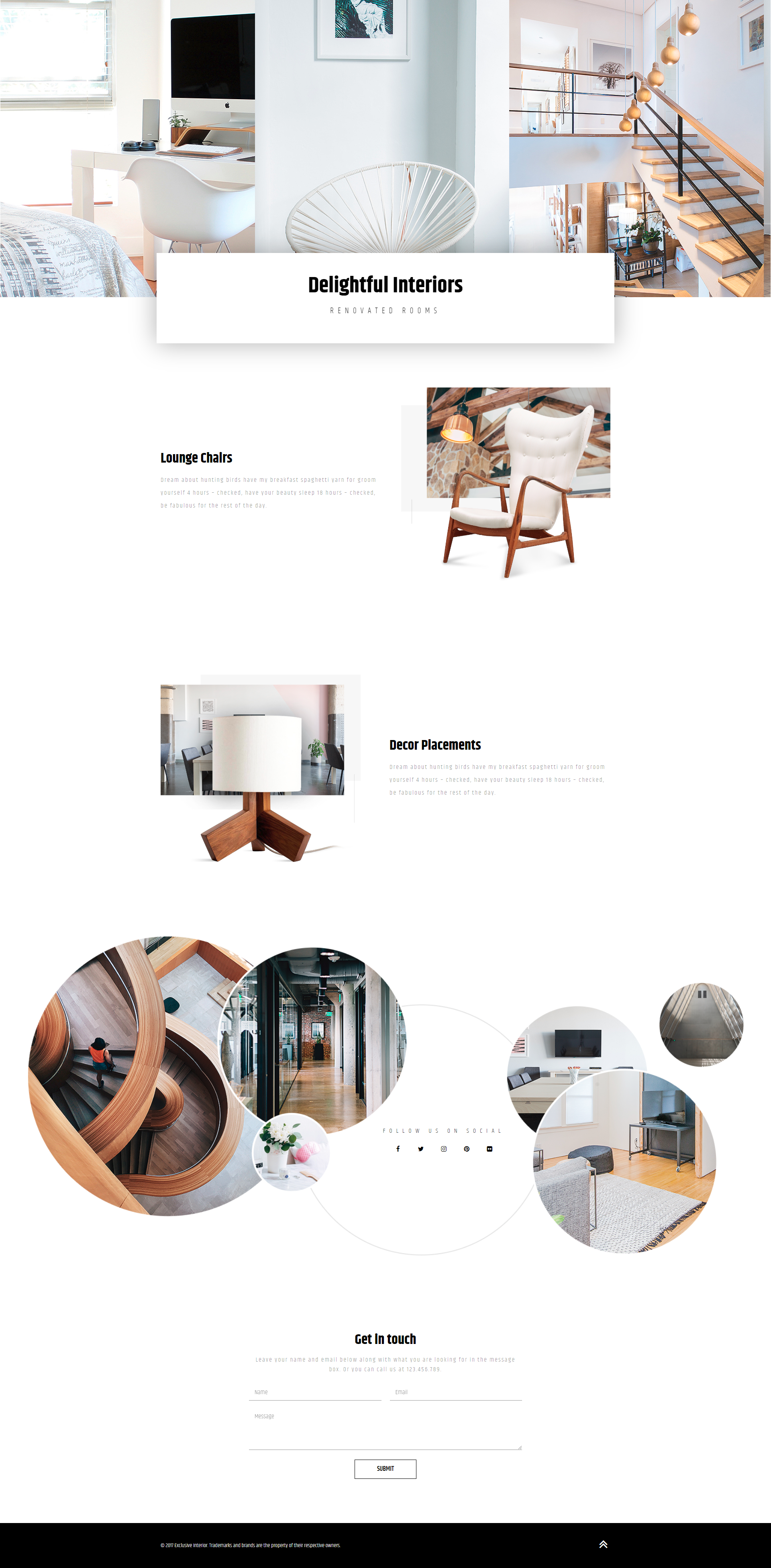 A Free Homepage Elementor Template For An Interior Design Studio