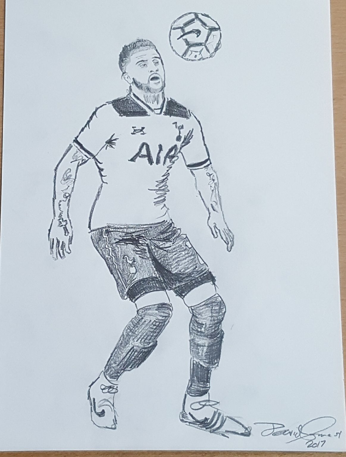 A footballer by david connor an original pencil drawing by david connor