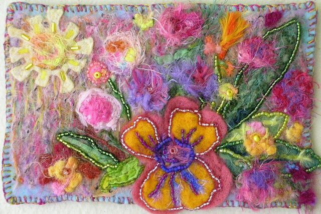wool felting and beads