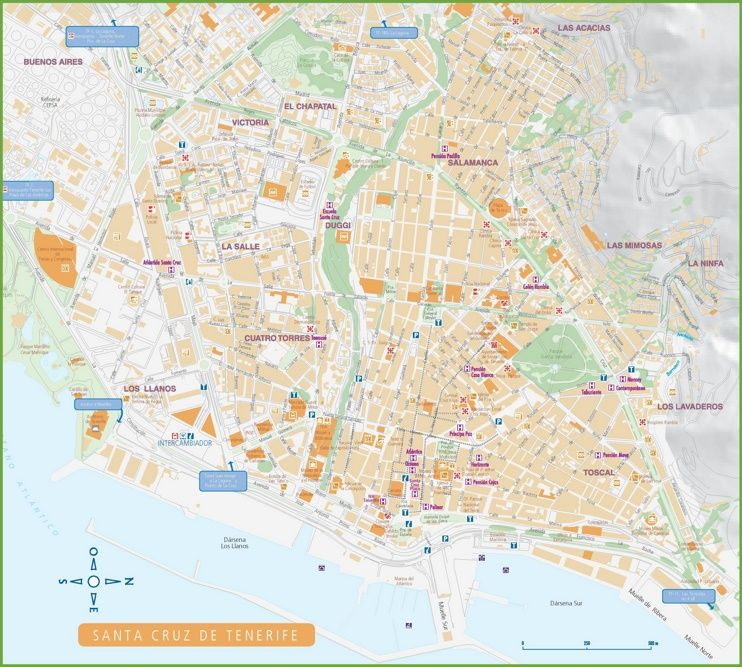 Santa Cruz De Tenerife Hotels And Sightseeings Map Santa Cruz De Tenerife Map Tenerife