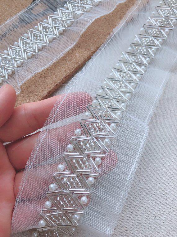 Beaded Mesh Trim, Bridal Pearl Applique, Silver Ivory Beaded Lace Trim, Wedding Sash Applique Trim