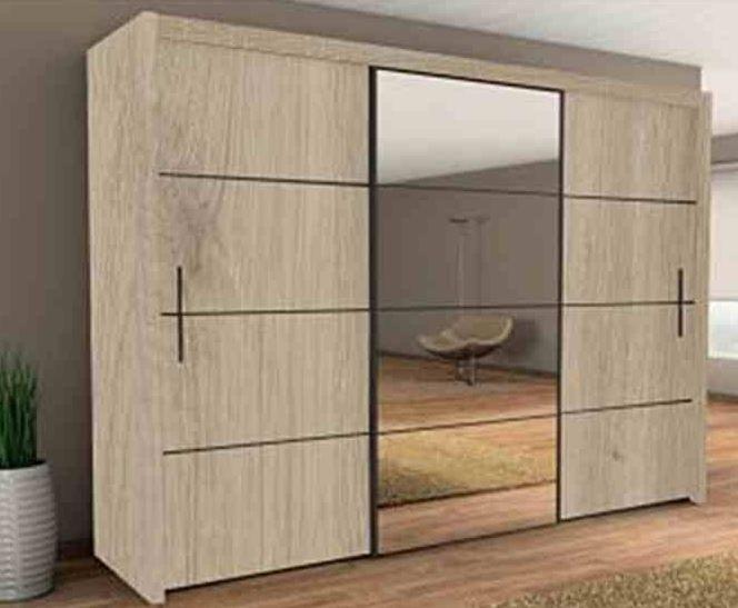 Brand New Modern Bedroom Wardrobe Sliding Door With Mirror Oak Sonoma