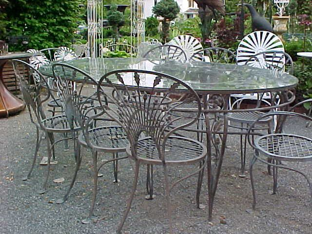 Salterini Wrought Iron Riviera Patio Set Extra Large Table 8 Chairs Rubylane
