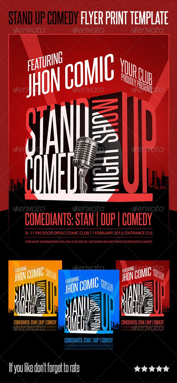 Standup Comedy Flyer Print Template Photo Psd Jokes Available Here