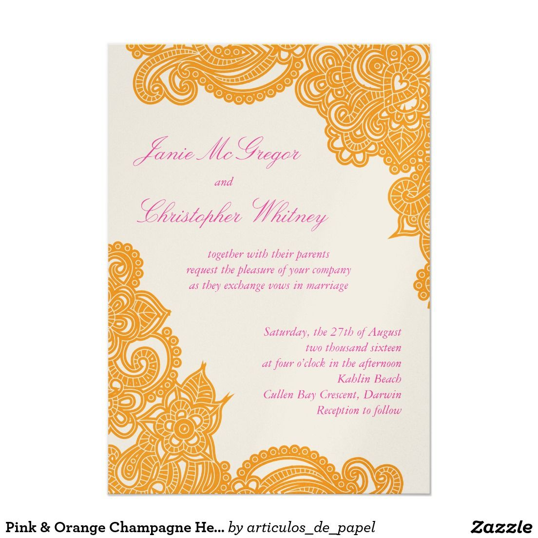 Pink Orange Champagne Henna Wedding Invitations