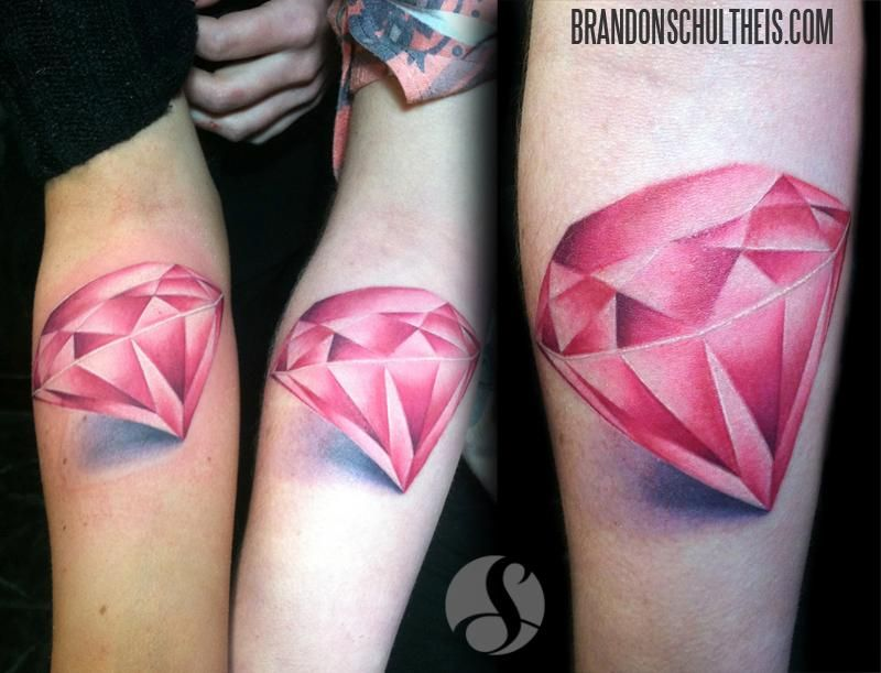 e81972e84 Matching Pink Diamonds by Brandon Schultheis : Tattoos | Pink Bling ...