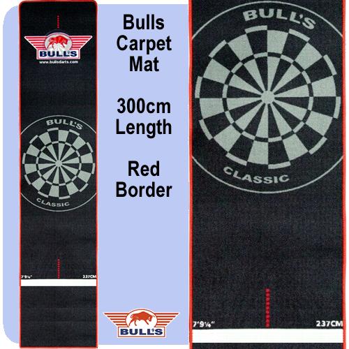 Bulls Darts Mat - Professional - Carpet Dart Mat - 300cm x 65cm - Black with Red Border - http://www.dartscorner.co.uk/product_info.php?products_id=16453