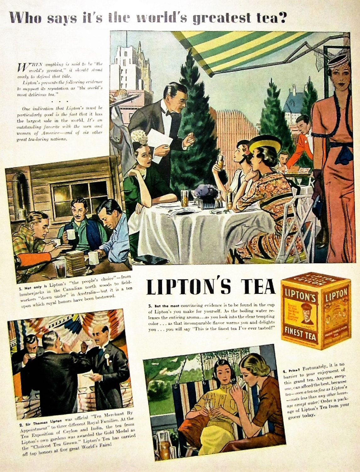 Wall art. Liptons teas Vintage poster Reproduction poster