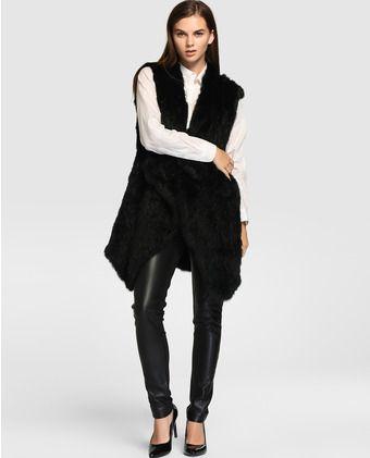 78cb62eef Chaleco de mujer Tintoretto de pelo en color negro
