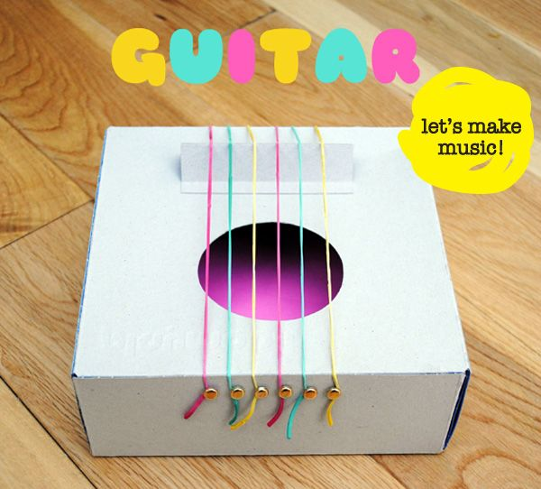 Diy cardboard box guitar might need this for 3rd grade for Diy music projects
