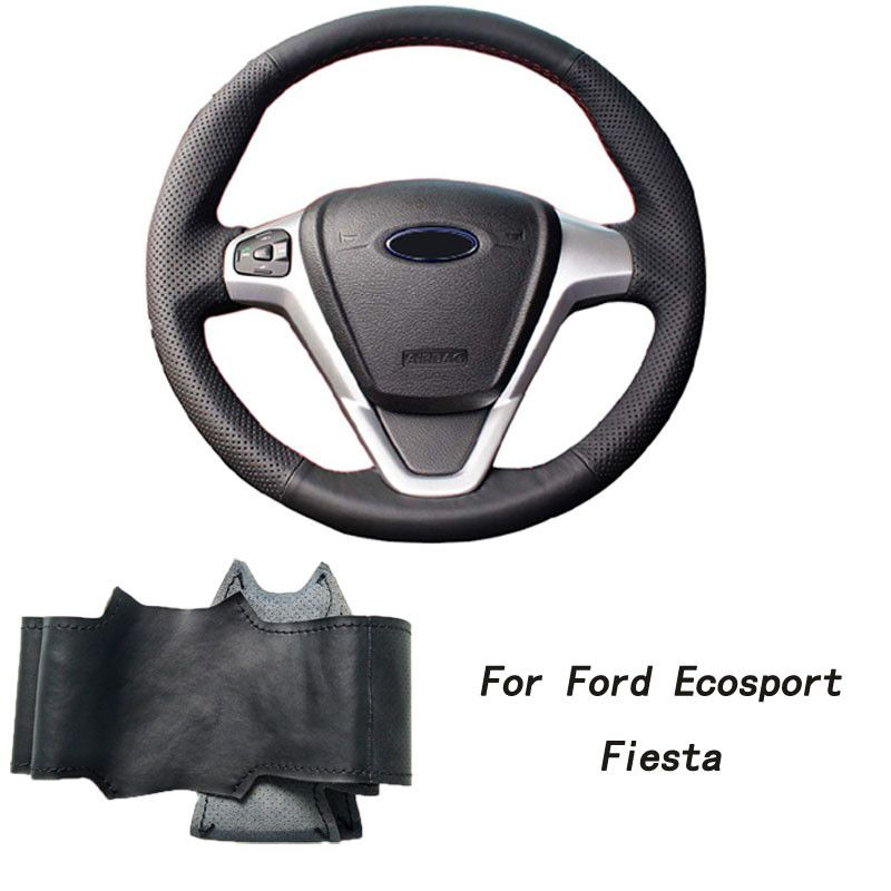 For Ford Ecosport Fiesta Hand Stitched Car Steering Wheel Cover