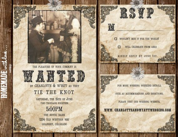 The Wanted Collection Set Printable By Homemadewithlovewed 25 00 Western Wedding Invitations Diy Printable Wedding Invitations Western Wedding