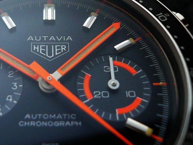 """Heuer Autavia 11063 """"Alpha Orange Skunkworks"""" Custom"""
