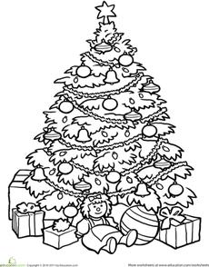 Christmas Tree Worksheet Education Com Christmas Tree Coloring Page Tree Coloring Page Christmas Tree Drawing