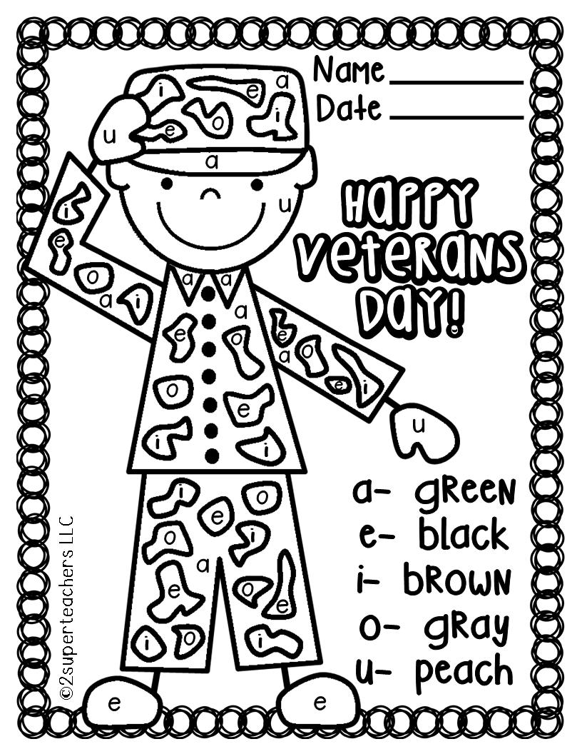 Veterans Day Freebie Reviewing Vowels Veterans Day Activities Veterans Day Coloring Page Veterans Day [ 1056 x 816 Pixel ]