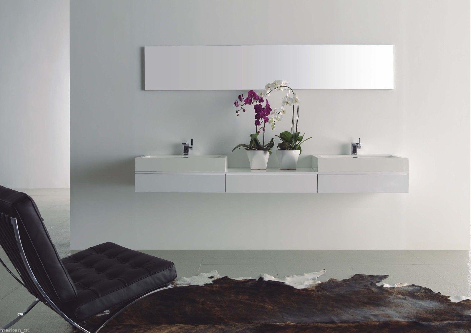 Doppelwaschtisch 225cm Badezimmer Set weiß hochglanz Waschbecken ... | {Badezimmermöbel modern 83}