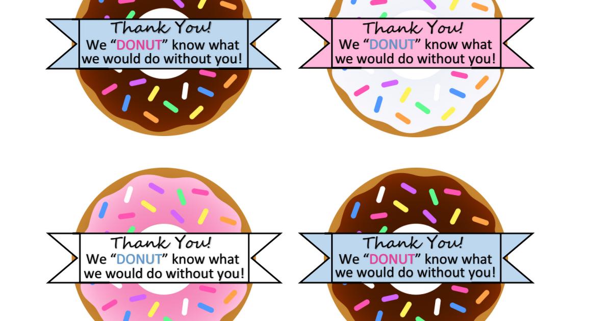 Donut Thank You.pdf | Teacher appreciation gifts, Teacher ...