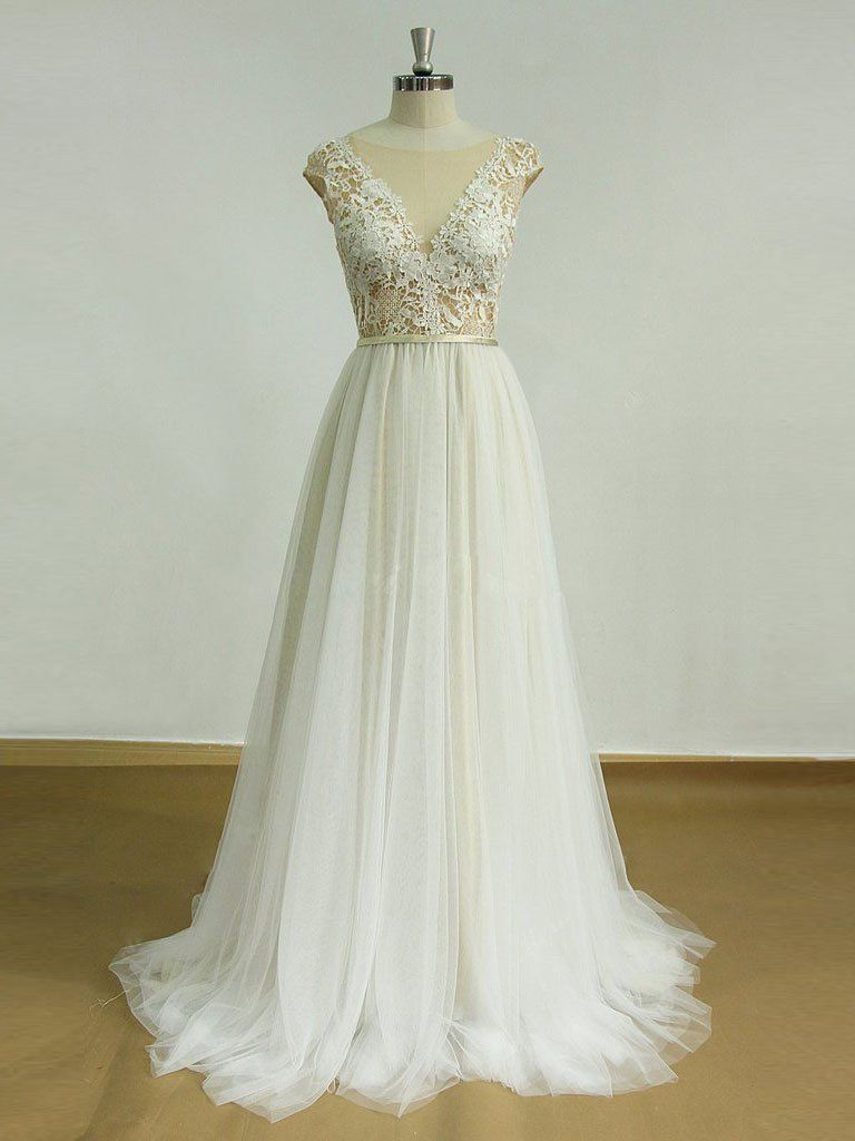 Sexy backless see through cap sleeve cheap wedding dresses online